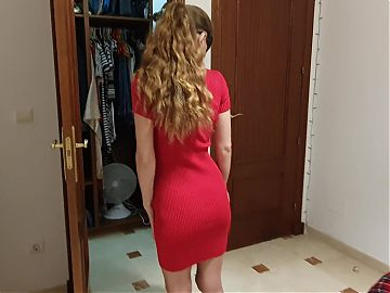 Try On - Flashing My Pussy In Sexy Tight Red Dress