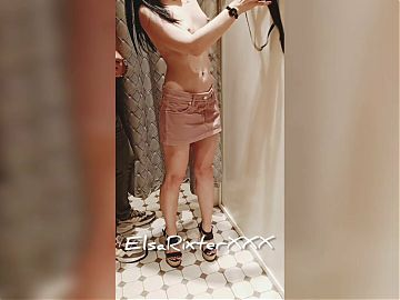 In the fitting room of the store, no panties. ElsaRixterXXX