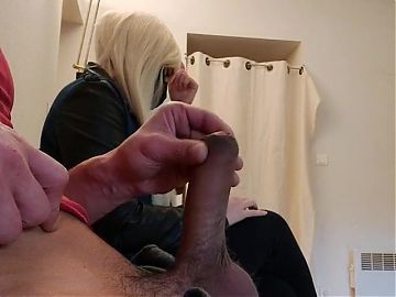 OMG!I take a risk.. I pull my cock out in the waiting room..