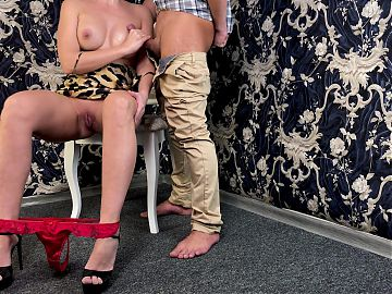Handjob before work - cum on my Tits and I wore his cumload