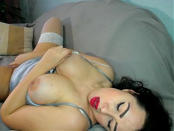 hot brunette milf in sexy lingerie masturbates her hairy pussy